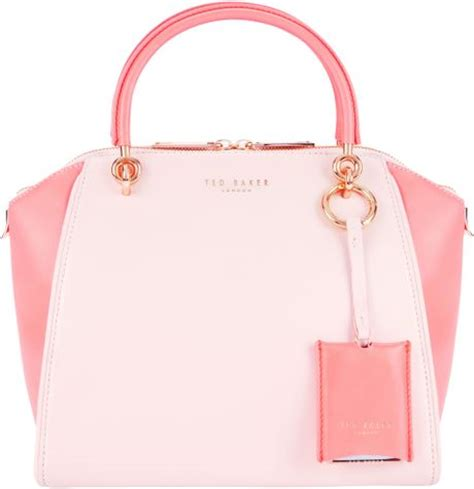 ted baker merells leather tote handbag in pink light pink