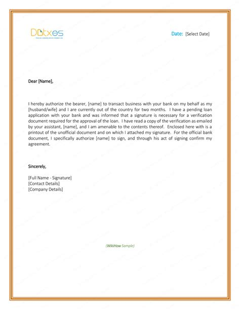 authorization letter to bank format of authorization letter for bank statement cover