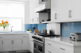 Blue Glass Kitchen Backsplash by White Quartz Backsplash Design Ideas