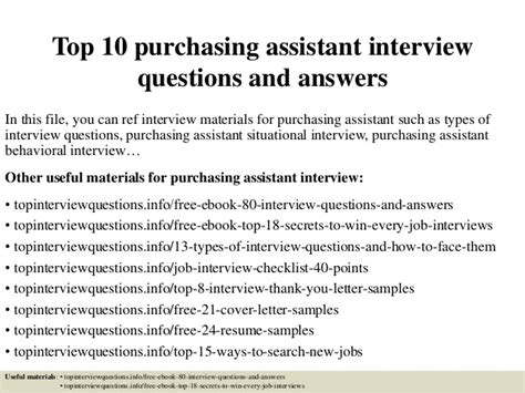 top 10 purchasing assistant questions and answers