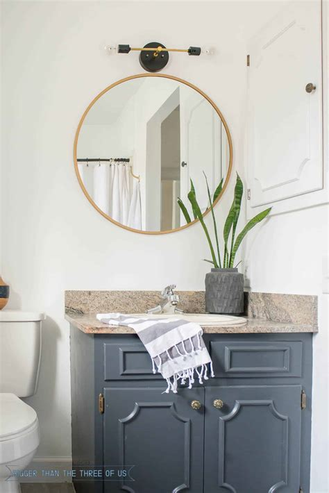 budget friendly bathroom makeover with cabinets