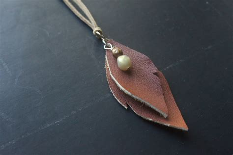 easy leather craft projects eat sleep make craft leather leaves necklace
