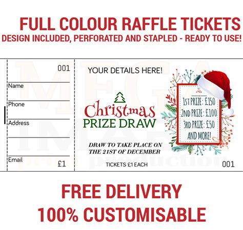 Drawing Vs Raffle by 1000 Printed Personalised Raffle Prize Draw Tickets Ebay