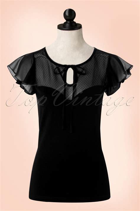 50s alyssa lace top in black