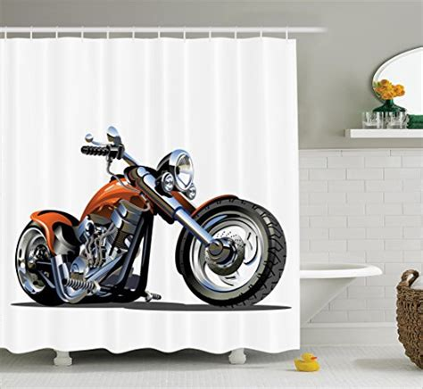 Motorcycle Decor Shower Curtain Set By Ambesonne Cartoon Motorcycle Bathroom Accessories