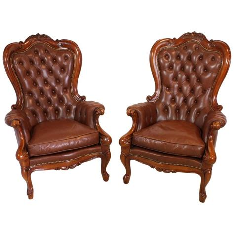 victorian armchair for sale set of two victorian style mahogany leather chairs circa