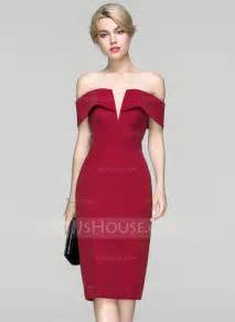 chagne colored cocktail dresses sheath column the shoulder knee length satin cocktail