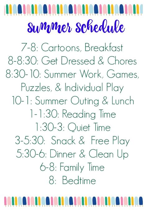 daily summer schedule printable summer schedule for kids free printable the chirping moms