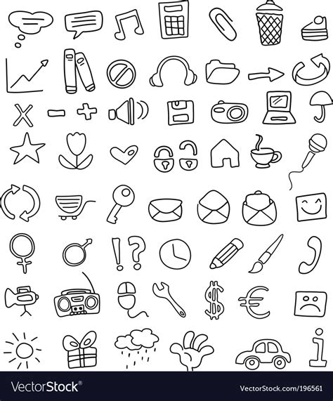 free vector doodle icons icon doodles royalty free vector image vectorstock