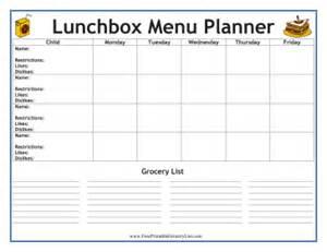 printable lunchbox menu planner