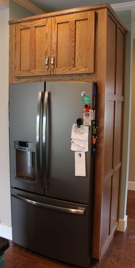 custom red oak refrigerator cabinet  side panels