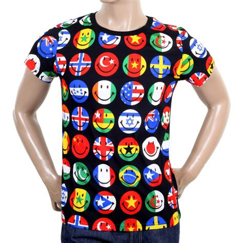 flags of the world t shirt colourful printed crew neck t shirt from moschino