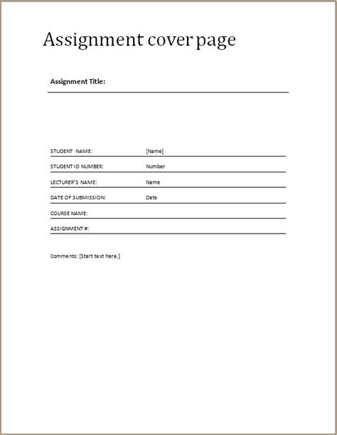 assignment cover pages word excel templates