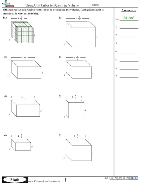 printable math worksheets volume of triangular prism volume worksheets