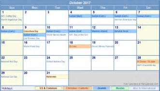 Calendar 2017 October With Holidays October 2017 Printable Calendar For Free Printable