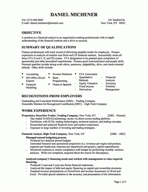financial analyst objective statement best financial analyst resume exle recentresumes