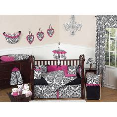 Black And Pink Crib Bedding by Pink Black And White Damask Baby Bedding Crib