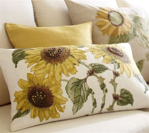 Pottery Barn Sunflower Pillow sunflower embroidered lumbar pillow cover pottery barn