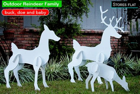outdoor lighted reindeer family cool decorations for outside your house