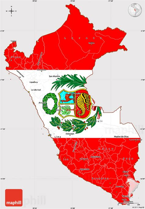 peru on a map flag simple map of peru flag aligned to the middle