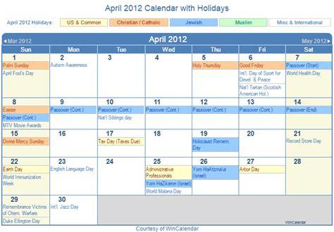 April 2012 Calendar Print Friendly April 2012 Us Calendar For Printing