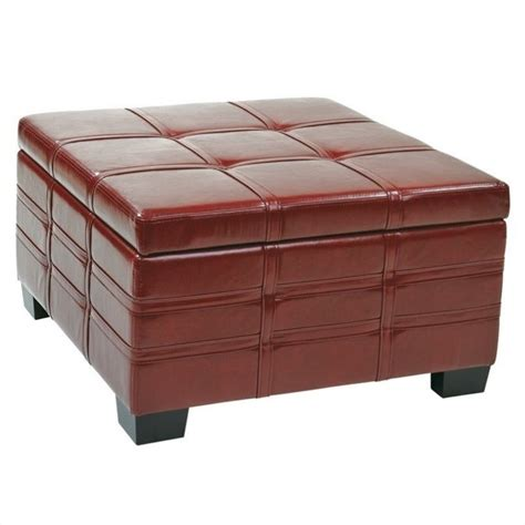 ottoman with tray table ottoman with tray in crimson red leather dtr3030s cbd