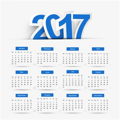 Calendario Azul Calendario 2017 Color Azul Descargar Vectores Gratis