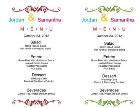 menu card template for word wedding menu template 5 free printable menu cards
