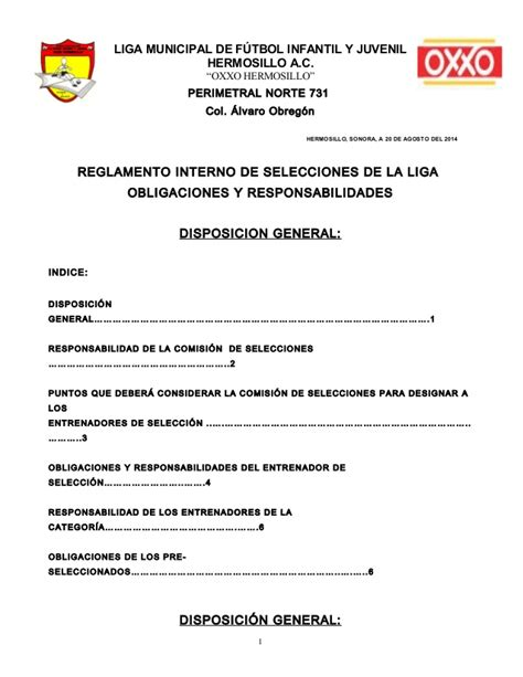 carta de recomendacion oxxo reglamento de selecciones 2014 2015