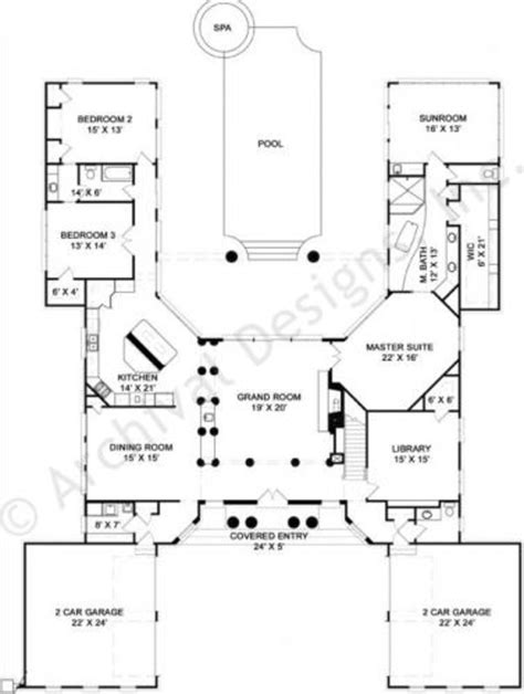 courtyard house plans u shaped u shaped house plans modern with indoor pool central