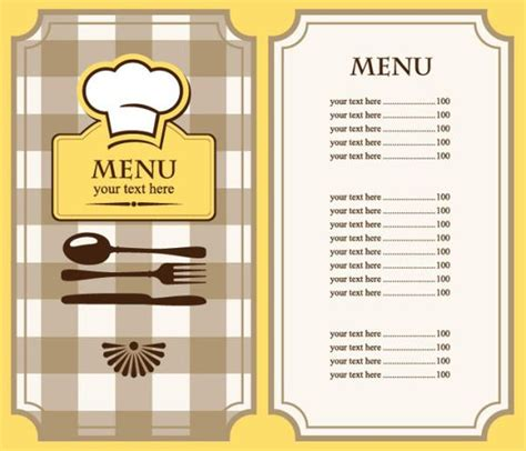 diner menu template free restaurant menu template free eps file set of cafe