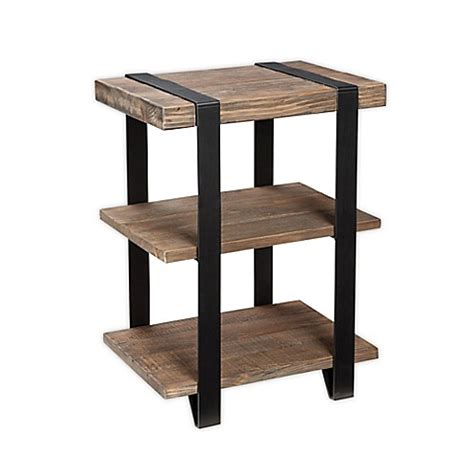 bed bath and beyond modesto modesto metal and reclaimed wood 2 shelf end table bed bath beyond