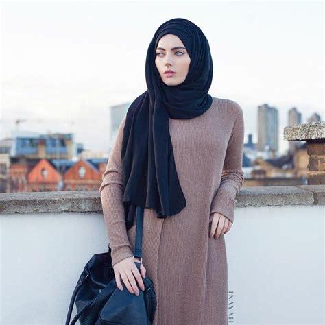 Dress Wanita Maxi Dress Muslim Arsita inayah wheat knitted maxi dress black jersey www inayahcollection modestfashion