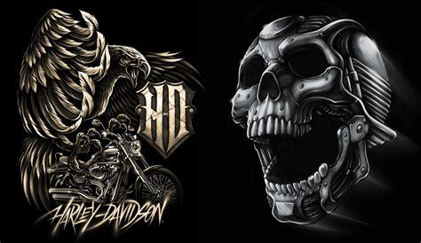 Harley Davidson Skull T Shirts by Harley Davidson T Shirt Illustrations For Bravado Done By