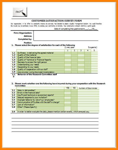 6 customer satisfaction survey template excel mail clerked