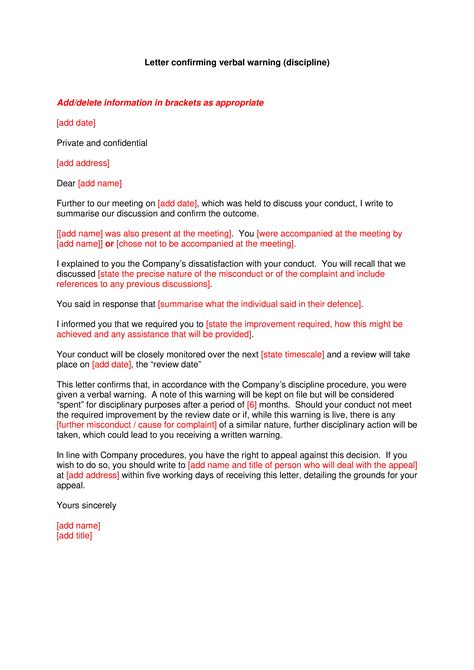 write warning letter misconduct