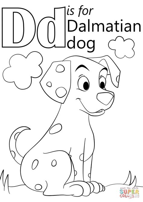 letter d dinosaur coloring page letter d is for dalmatian dog coloring page free
