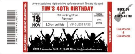 concert ticket invitations template rock concert birthday ticket invitations are available