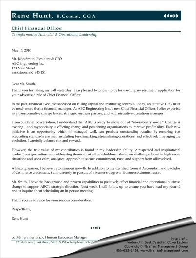 Cover Letter For Cfo Position by Sle Cover Letter For Chief Financial Officer