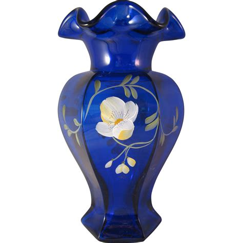 L 842 Transparent Top Bottom Costume fenton golden flax on cobalt blue hexagon vase decorated