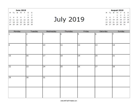 Calendar 2019 July July 2019 Calendar Free Printable Allfreeprintable
