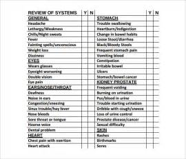 review of systems template sle review of systems template 7 free documents in