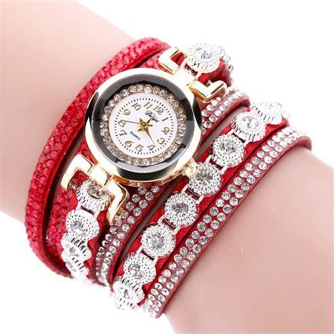 Jam Tangan Wanita Color jam tangan wanita model gelang rhinestone dy038 white