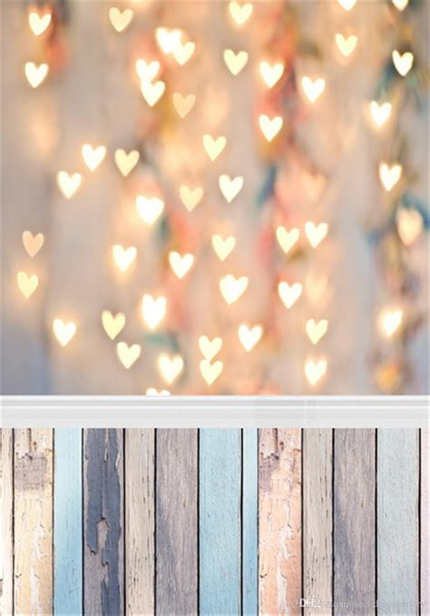 2018 Glitter Love Heart Lights Photography Backdrop Vinyl Pictures With Lights