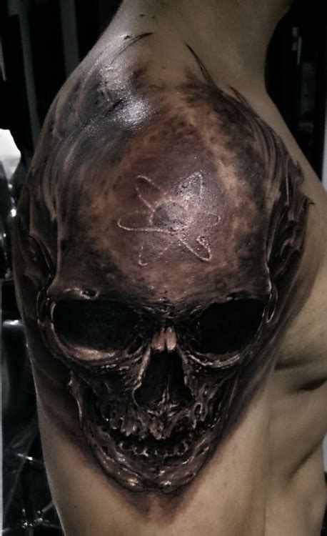 3d skull tattoo on shoulder skull tattoos pinterest