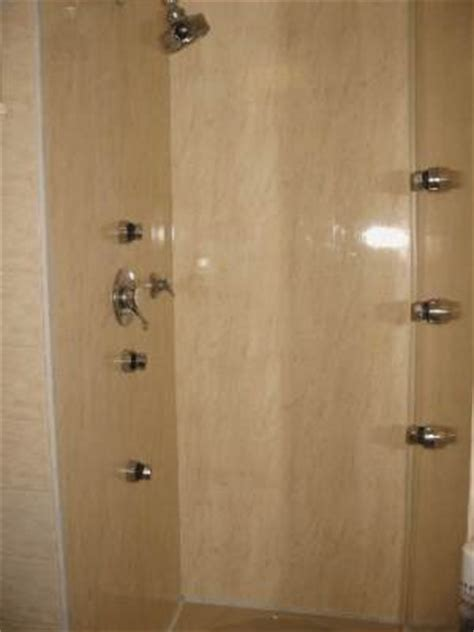 shower with jets on the walls jets and shower wall panels