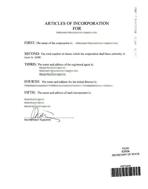 Iowa Incorporation Registered Agent Incparadise Iowa Llc Certificate Of Organization Template