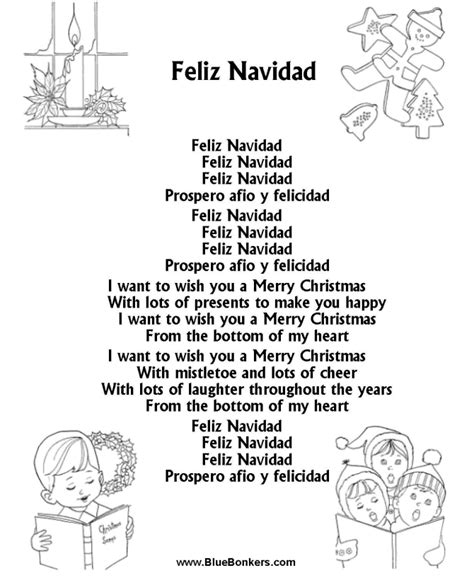 printable christmas carol song lyrics bluebonkers feliz navidad free printable carol lyrics sheets favorite