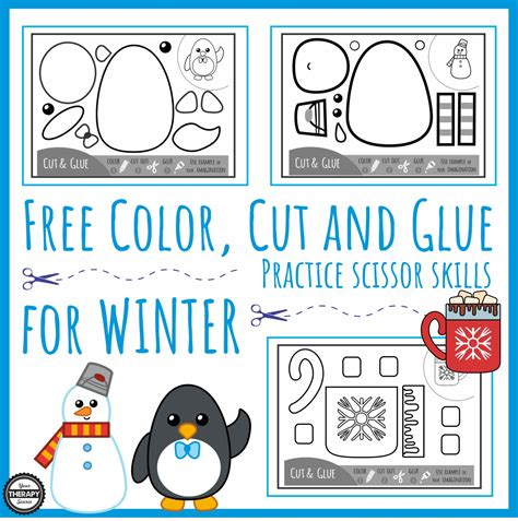 color and cut color cut glue scissor practice for winter your therapy