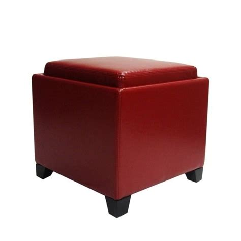 red storage ottoman with tray armen living contemporary leather storage ottoman with